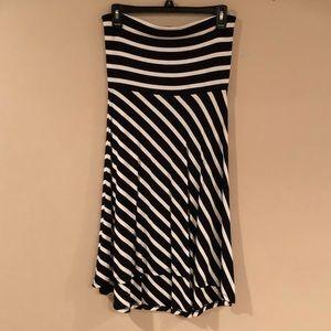 Loft black & white striped strapless dress